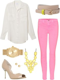 """Everything but shoes  """"candy pink jeans 