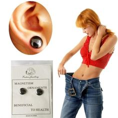 1Pair Health Stimulating Acupoints Stud Earrings Magnetic Therapy Weight Loss Ear Clip Magnet Slimming Earring Healthy Care Z5