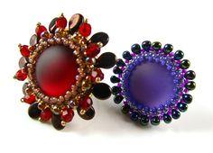 Lunasoft Cabochon Rings with pip beads and Miyuki drop beads ~Seed Bead Tutorials