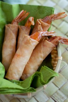 Firecracker Shrimp, amazing appetizer recipe where shrimp is wrapped with spring rolls wrapper and deep-fried. So YUMMY | http://rasamalaysia.com