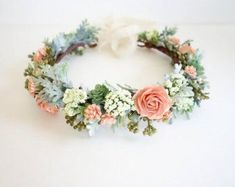 White Flower Crown Fern Crown Flower Crown by MoonflowerNatureArt #weddingcrowns