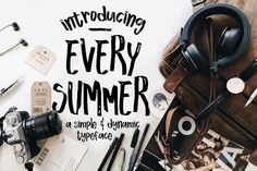 Every Summer Script ~ Script Fonts ~ Creative Market Hand Drawn Fonts, Hand Lettering, Lettering Design, Sans Serif, Summer Font, Envato Elements, Natural Brushes, Retro Font, Lyrics