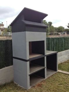 Backyard Patio Designs, Small Backyard Landscaping, Backyard Bbq, Outdoor Barbeque, Outdoor Oven, Parrilla Exterior, Modern Patio Design, Modern Outdoor Fireplace, Brick Bbq