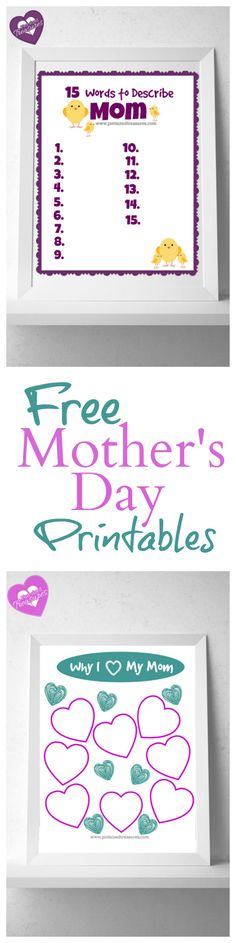 Free Mother's Day Printables that kids and moms will love! These are frame-worthy!