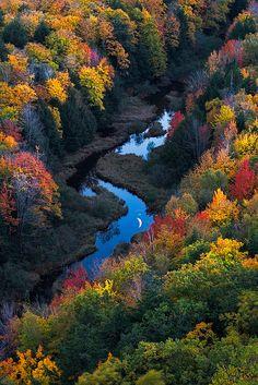 Moonrise over the Carp River, Michigan, United States