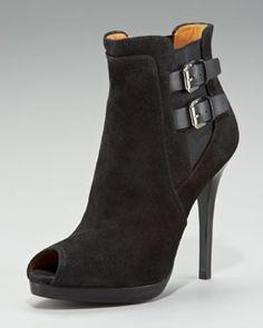ralph lauren peep toe boots   Ralph Lauren Jadine Peep-Toe Ankle Boot in Black or Porcini Brown