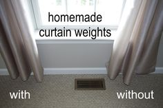 [Penny & Paperclip combination used for weights helps balance!] Robin Kramer Writes: Homemade Curtain Weights (what Post-It notes, pennies, and paperclips can do) Homemade Curtains, Drapes Curtains, Drapery, Valances, Curtains And Blinds Together, Sewing Curtains, Closet Curtains, Nursery Curtains, Grommet Curtains