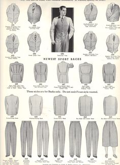Fall 1934 to Winter 1935 Style Book of Windsor Clothing company; rare, personal collection. Useful to see variety of suit styles particularly thr structured pleated backs popular at the time that gradually died out through to 40s except for country / hunting hacking jackets.