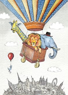 Illustration Hot Air Balloon with Animals | Wild Rides, Animals in a Hot Air…