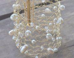Goldarmband - Gold Manschette - stricken Gold Manschette - stricken Manschette Metall - stricken Metall-Schmuck - Hochzeit Armband - Hochzeit-Manschette - Mesh Metall Manschette