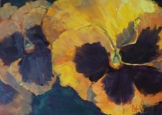 Art Sale, Flower Painting, Spring Pansies in the Park by Carol Schiff, 6x8 Oil, painting by artist Carol Schiff