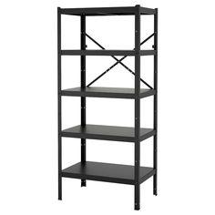 BROR Open kast - zwart - IKEA Sofa Bar, Concrete Bags, Garage Storage Shelves, Book Shelves, Garage Organization, Pine Shelves, Pantry Storage, Shoe Storage, Powder Coating