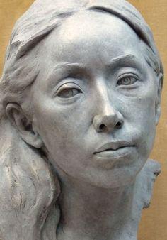 #Bronze Lifelike Realistic Human #sculpture by #sculptor Tristan MacDougall titled: 'Portrait of Junko (bronze)'. #art #artist #artwork #TristanMacDougall