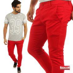 http://modamarcom.com.br/para-todos-os-gostos/ Man style #fashion #pants #colour #blue #denim #manly #red