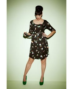 Bird Print Jersey Dress - Length from 37in