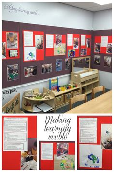 'Making learning visible' display in our FS1 classroom. Observation includes…