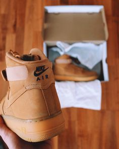 Nike Air Force 1 High-top Sneakers - Flax   See this Instagram photo by @thrillhouse1 • 94 likes
