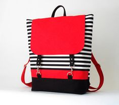RED. Black stripe canvas backpack / Laptop backpack / by BagyBags