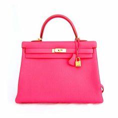 Hermes Rose Lipstick Kelly Gold Shoulder Bag