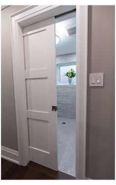 Upstairs Bathrooms, Downstairs Bathroom, Bathroom Renos, Bathroom Layout, Bathroom Interior Design, Laundry In Bathroom, Small Bathroom, Master Bathroom, Sliding Bathroom Doors