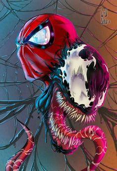 Drawing Dc Comics Spider-Man and Venom Amazing Spiderman, Spiderman Art, Spiderman Venom, Marvel Venom, Marvel Vs, Marvel Heroes, Nightwing, Batwoman, Marvel Universe