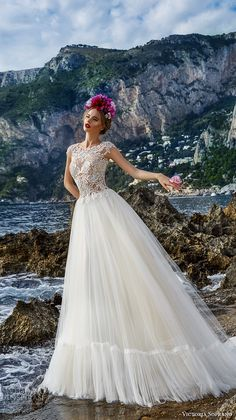 victoria soprano 2017 bridal cap sleeves heavily embellished bodice tulle skirt romantic a line wedding dress covered lace back chapel train (3)  fv -- Victoria Soprano 2017 Wedding Dresses