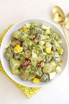 Green Goddess Potato Salad with Bacon and Peas