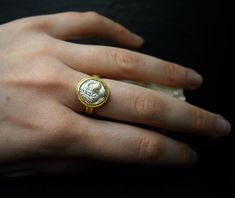 Gold Silver Ancient Greek Coin Alexander the Great Ring Statement Signet Jewelry Man for Women Gifts for Men Who Have Everything Mentors