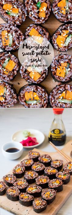 Miso-glazed sweet potato sushi