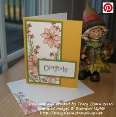 Congratulations card created using stamps from the October 2015 Paper Pumpkin kit from Stampin' Up! - Blissful Bouquet.  http://tracyelsom.stampinup.net