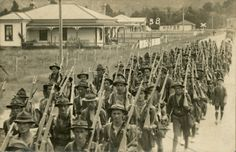 Battalion Royal New Zealand Rifles, training march Featherston Wellington October My Grandfather, 38197 Merrick Albert Sydney Joseph, (then Corporal, latter for bravery in field) is centre of photo. Burried 1921 in Napier aged Ww1 History, Military History, World History, Fun World, World War One, First World, Anzac Cove, City Library, Anzac Day