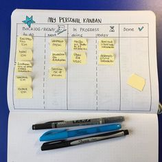 Kanban in your bullet journal can help you laser focus your project management productivity and help you really achieve those goals as well as. Office Organization At Work, Planner Organization, Kanban Crafts, Journal Layout, Planner Pages, Bullet Journal Inspiration, Book Publishing, Time Management, Bujo