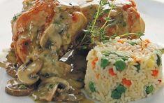 Κουνέλι με μανιτάρια και κρέμα γάλακτος Chicken, Meat, Food, Essen, Meals, Yemek, Eten, Cubs