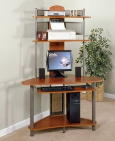 Wood Top Small Corner Computer Desk In Pewter And Cherry Finish Fits 27 Monitors