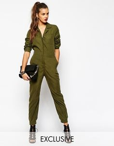 Daisy Street Long Sleeve Utility Boilersuit in Soft Touch Fabric