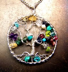 Genealogy Family Tree necklace pendant - Tree of Life - birthstone gemstones - mother grandmother sterling silver personalized gift for mom