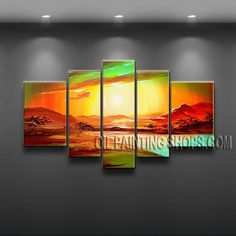 Huge Modern Abstract Painting High Quality Oil Painting Gallery Stretched Sunset. This 5 panels canvas wall art is hand painted by Flora.Z, instock - $148. To see more, visit OilPaintingShops.com