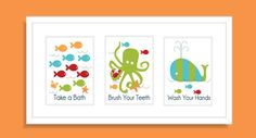Fish Octopus and Whale Children's Wall Art Kid's by FieldandFlower, $28.00