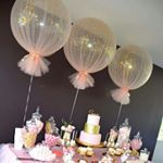 "214 Likes, 29 Comments - Boutique Balloons Melbourne (@boutique_balloons_melbourne) on Instagram: ""Tulle balloons with silver confetti for a Holy Communion,  so preety  #tulleballoons…"""