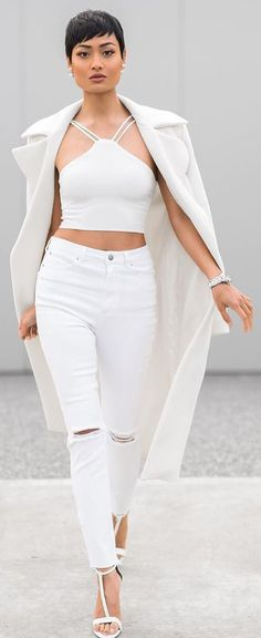 All White Casual Office Outfit by Micah Gianneli