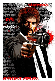 Pulp Fiction art, Jules Winnfield, Samuel L Jackson, Pop Art illustration, Poster size, Canvas art print, available in 18x24 or 24x36.-Watch Free Latest Movies Online on Moive365.to