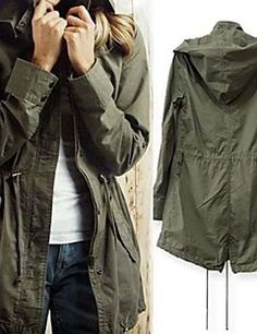 Casual Drawstring Military Army Green Hoodie Trench Coat Jacket - The Style  Basket