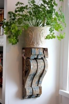 Wood corbels to hold potted herbs i will use the some of the  corbels  i bought for 8 bucks each to do something like this they are to beautiful to be sitting in the garage and in the corner of the basement