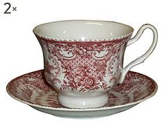 Set di 2 Tazze da the con piattino in ceramica Baroque rosso - 14x9x14 cm