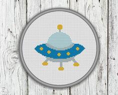 UFO Counted Cross Stitch Pattern Alien Cross by CrossStitchShop