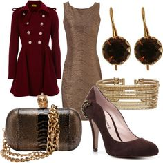 Gold and Burgundy, created by #walbright on polyvore.com