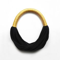The bicolor funky party necklace - handmade in golden fabric