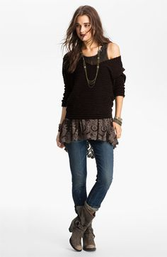 Free People Embellished Sheer Tunic with 'Bumblebee' Stripe Sweater | Nordstrom