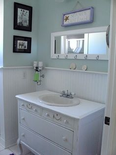 Guest bath with vanity made from old dresser??  Could work if dresser is small. Love it all!  Even color
