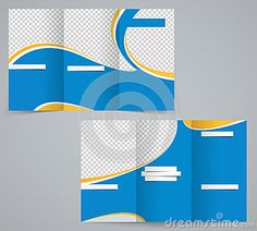 Three fold business brochure template, corporate flyer or cover design in blue colors